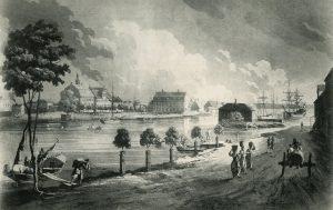 Hamnen med Saltängen i bakgrunden. Efter J. F. Martins kopparstick omkring år 1800. Foto ur Norrköpings stadsarkivs samlingar.